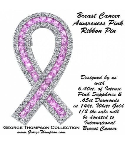 Breast Cancer Awareness Sapphire Pin