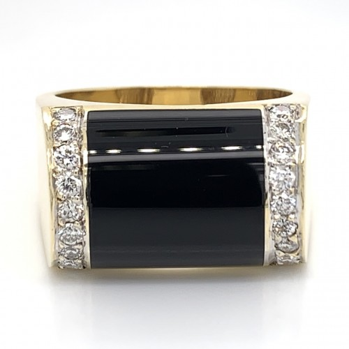 The Haluka Diamond Band in 14kt Yellow Gold & Black Onyx