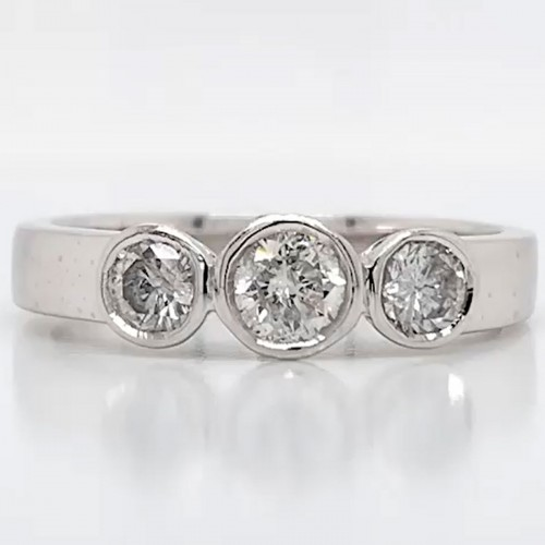 The Mista Three Stones Engagement Ring in 14kt White Gold