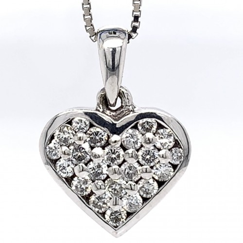 The Orica Heart Diamond Pendant in 14kt White Gold