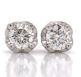 Intricate Melee Diamond Stud Earrings in 14k White Gold