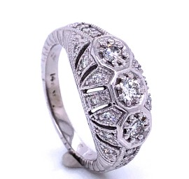 The Palma Three Stones Engagement Ring in 14kt White Gold