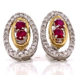 Elegant Diamond and Ruby Earrings in 18kt White Gold and Yellow Gold