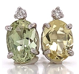 Graceful Mint Green Tourmaline and Diamond Earrings in 14kt White Gold