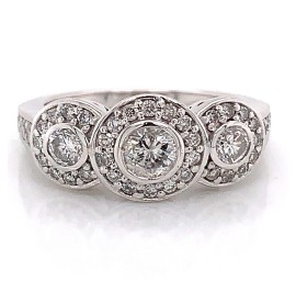 The Samanta Three Stones Engagement Ring in 14kt White Gold