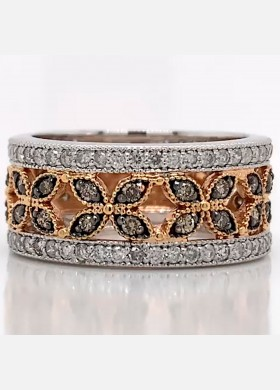 The Elicia Diamond Band in 14kt White Gold and Rose Gold
